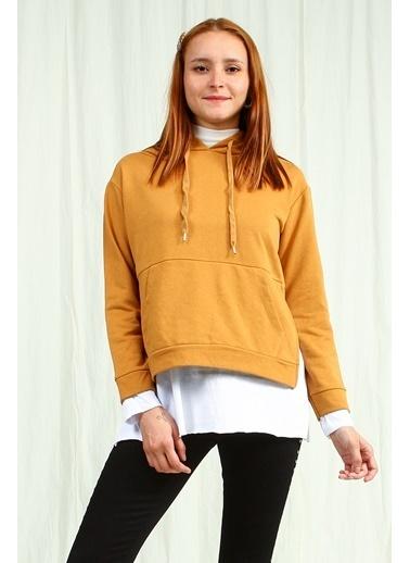 Collezione Collezione Yırtmaç Detaylı Kapüşonlu  Kadın Sweatshirt Kiremit